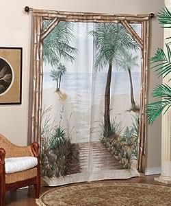 Bamboo Beach Trompe l'oeil Window Art