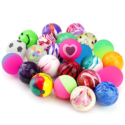 Pllieay 24 Pieces Jet Bouncy Balls 25mm Mixed Color Party Bag Filler for Children (24 Balls Piece)