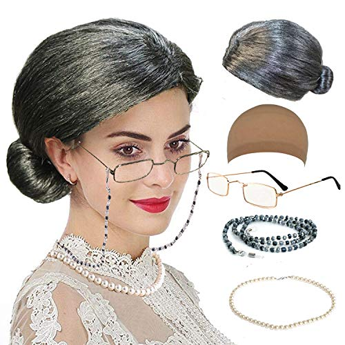 (qnprt Old Lady/Mrs. Santa Wig, Madea Granny Glasses, Eyeglass Chains Holder and Cords Strap,FauxPearl Beads Choker Necklaces,Style-2)