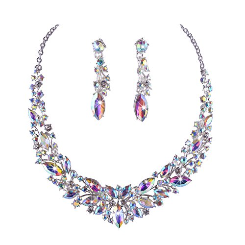 Youfir Austrian Crystal Rhinestone Bridal Wedding Necklace and Earrings Jewelry Sets for Women(Crystal AB) Beautiful Austrian Crystal Rhinestone Necklace