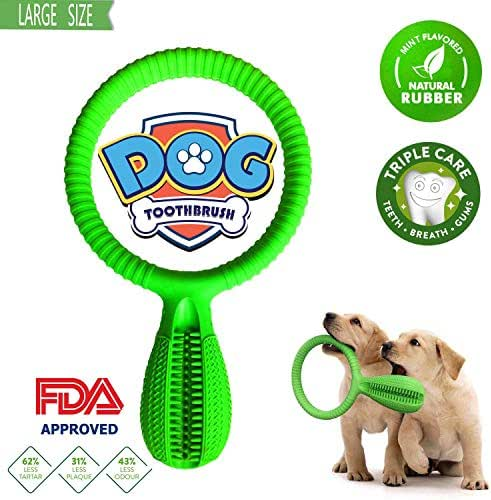 NOREEN Dog Toothbrush Stick,Natural Rubber Dog Chew Cleaning Interactive Training Toys, Effective Dog Tooth Teeth Cleaning Massager for Small Medium Dog Pets