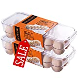 SUJUDE 12 Egg Holder for Refrigerator, Egg Tray With Lid, Egg Storage Container for Kitchen Refrigerator, Pack of 2