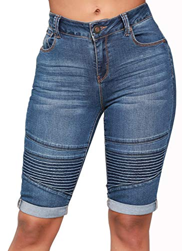 chouyatou Women's Moto Stretchy High Waist Butt-Lifting Wrinkle Cuffed Denim Bermuda Shorts (Small, Blue)