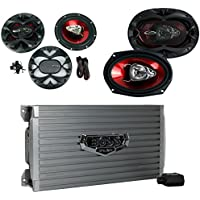 BOSS AUDIO AR1600.4 1600W 4 Channel Car Amplifier Amp+Remote+ 6.5/6x9 Speakers