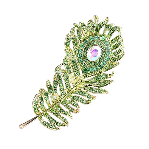 EVER FAITH Austrian Crystal Adorable Peacock Plume Brooch Green Gold-Tone - Pavone Crystal