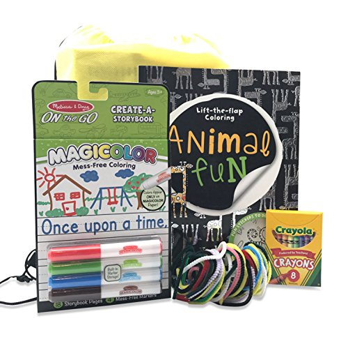 Travel Kit for Kids In Car   Pack For Road Trips or Plane Rides   Age 3 & Up   Melissa & Doug On the Go, Chenille Sticks, Coloring Book - Vacation Favorite Destination