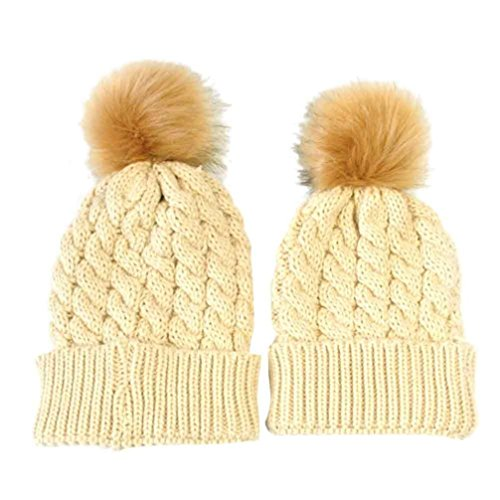 GBSELL Mom And Baby Winter Knitting Keep Warm Hat Sport Cap (Beige (ball new))