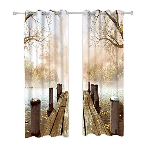 Riyidecor Rustic Wooden Bridge Curtains Blackout Nature Foggy Lake River Ocean Scene Beige Artwork Autumn Living Room Bedroom Window Drapes Treatment Fabric (2 Panels 52 x 84 Inch)