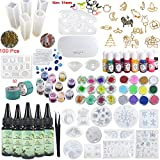 5 Pieces 30ML Resin UV, 1 Lamp Tweezer 36 Decoration 23Pcs Silicone Mould 100 Rings 13 Color Liquid Pigment 17 Metal Jewelry with 2X 5 Meters Tape For DIY Jewelry Earrings Necklace Bracelet