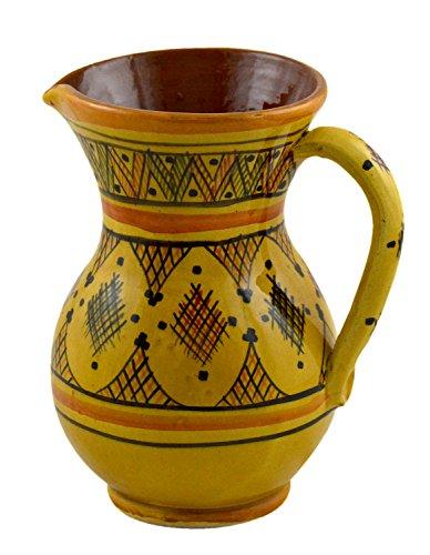 Glazed Ceramic Pitcher (Moroccan Pitchers Sangria Handmade Ceramic Carafe Beverage Dispenser Jar Cooler Easy Pour 58 Oz)