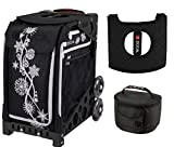 Zuca Sport Bag - Silver Shimmer with Gift Lunchbox and Seat Cover (Black Non-Flashing Wheels Frame)
