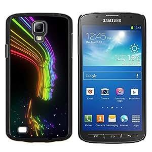 TECHCASE---Cubierta de la caja de protección para la piel dura ** Samsung Galaxy S4 Active i9295 ** --Rayos Rainbow Negro señora Woman Chica