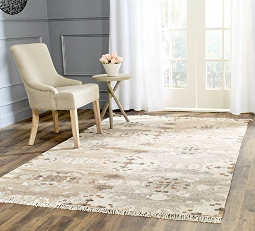 Safavieh Natural Kilim Collection NKM318A Flatweave Grey and Multi Wool Area Rug (6' x 9') (Area Kilim Rugs)