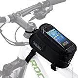 ArcEnCiel Bike Front Frame Bag Cycling Waterproof Top Tube Frame Pannier Mobile Phone Touch Screen Holder Bike Bag (Black)