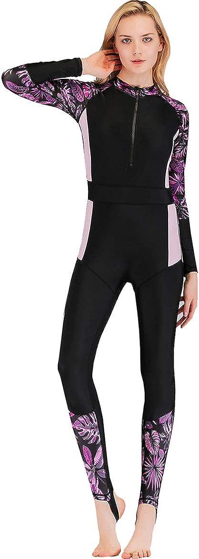 Women's One-Piece Surf Swim Wet Suit Long Sleeve Rashguard Sun Protection Purpleflower