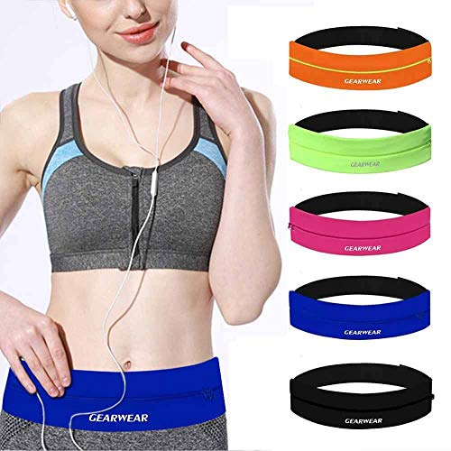 GEARWEAR Running Belt Waist Pack Bag for iPhone 8 X 7 Plus 6s Women and Men Runner Workout Belts Fanny Bag for Phone Samsung Galaxy Note s8 s7 s6 Plus for Wallking Fitness Jogging