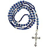 "Blue Rhinestone Rosary With Faceted Rondell Beads In 8x6mm, Bicone Beads And Metal Spacers -32"" Necklace Length, 21"" Overall"