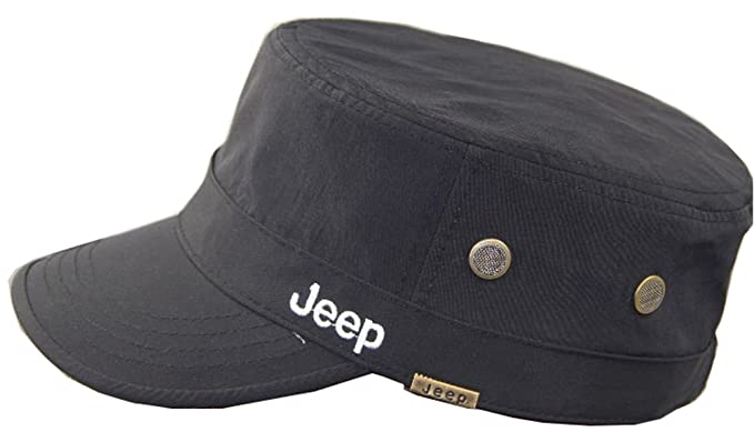 dfb4e0d7155 Jeep Unisex Solid Color Qucik Drying Cadet Army Cap Twill Military Corps Hat  Flat Top Cap Outdoor Sports Cap Hat - Black -  Amazon.co.uk  Clothing
