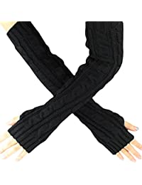 Kingfansion Womens Fingerless Knitted Long Gloves Warm Full Arm Knit Mittens (Black)