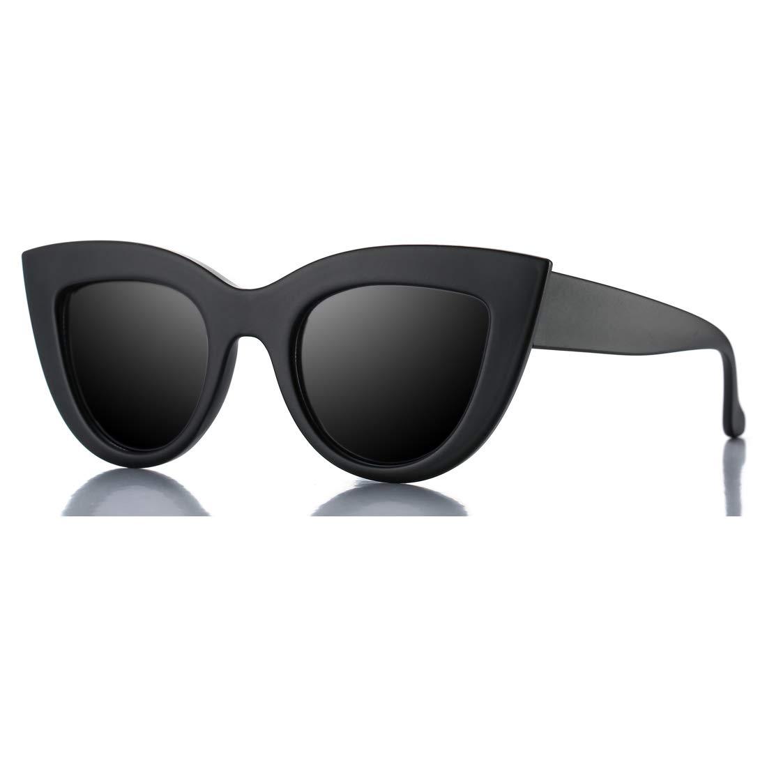 dc265eb69a4 Amazon.com  Retro Cateye Sunglasses for Women Fashion Mirror UV400  Protection Cat Eye Sun Glasses (Matte Black Frame Black Lens)  Shoes