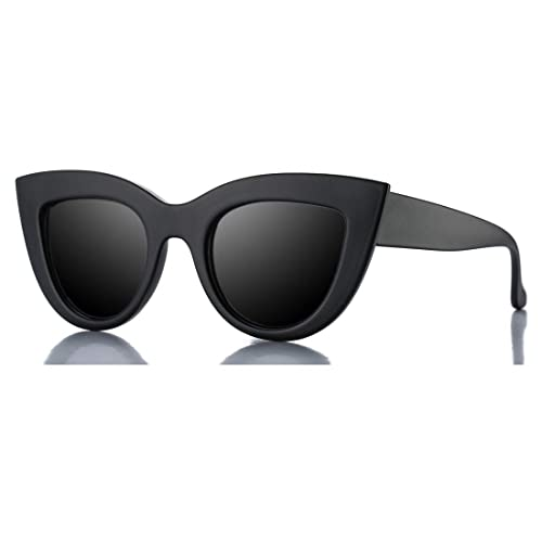 f1e0163f30 Retro Cateye Sunglasses for Women Fashion Mirror UV400 Protection Cat Eye  Sun Glasses (Matte Black