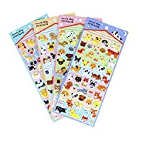 Happy Puppy Dog Stickers 4 Sheet with Golden Retriever, Shepherd Dog, Teddy, Bull Dog - PVC Foam Doggy Stickers for Kids - 160 Stickers