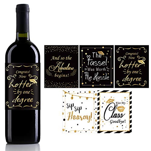 College Graduation Party Favors (Funny Graduation Wine Label Stickers,Cute Graduation Gift,Graduation Party Favors,For University Graduate College Grad - Set of)