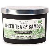 Vineyard Hill Naturals Matte Black Letterpress 3-Wick Scented Candle 12-Ounce Green Tea Bamboo