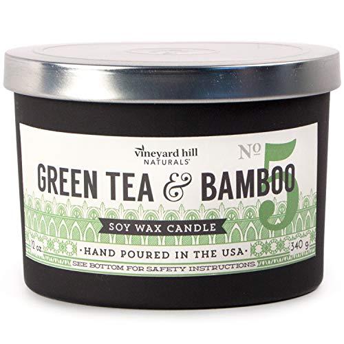 Vineyard Hill Naturals Matte Black Letterpress 3-Wick Scented Candle, 12-Ounce, Green Tea Bamboo