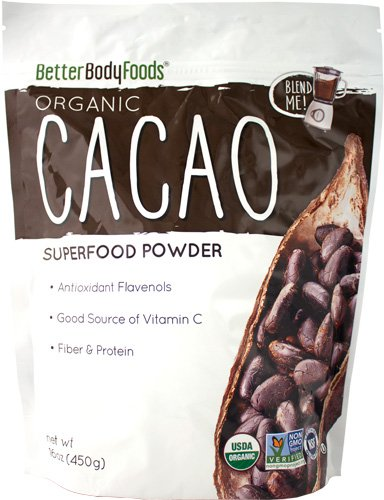 anic Cacao Powder 1 lb, 100% Organic Cacao Powder Enjoy A Delicious And Guilt-Free Chocolate Superfood, Easy Substitute For Cocoa, Produced by BetterBody Foods ()