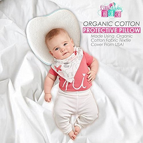 Little Baby Boo Organic Head Shaping Newborn Pillow I Soft Infant Head Memory Foam Sleeping Baby Pillow for 0 to 4 Months