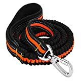 Reflective Rubber Band Dog Leash, FMJI Elastic Bungee Pet Leash Dog Traction Rope with Control Handle (4.3-6.9 Feet) (orange)