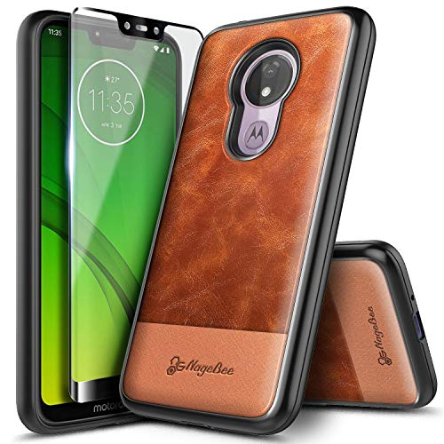 Moto G7 Power Case, Moto G7 Supra with Tempered Glass Screen Protector (Full Coverage), NageBee Premium [Cowhide Leather] Shockproof Dual Layer Rugged Durable Case for Motorola Moto G7 Power -Brown