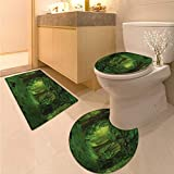 Anhuthree Nature Toilet Rug and mat Set Deep Tropical Jungle Trees Foliage in The Woodland Asian Himalayas Meditation Landscape Printed Bath Rug Set Green