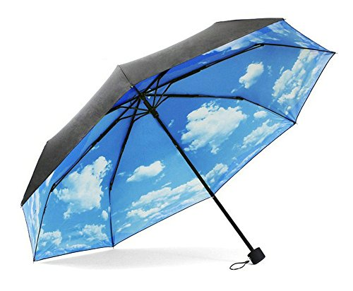 Fish Mate Replacement - ColorDrip Unisex Adult's Blue Sky White Clouds Folding Travel Umbrella