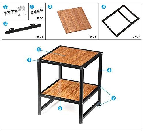 "Square Coffee Table Metal Legs: Yaheetech 2 Tier 15"" Square Wood Coffee Table Metal Legs"