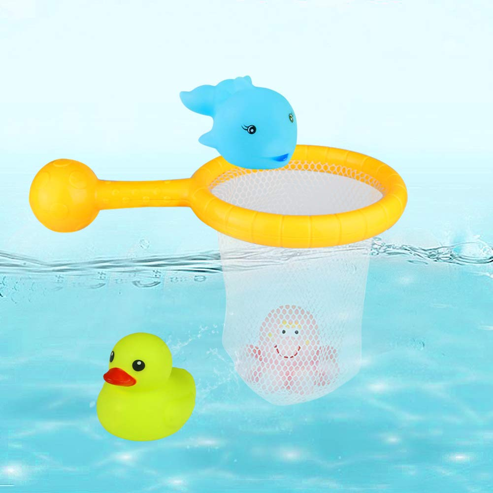 Nuheby Duck Bath Toy with Net Floating Octopus Dolphin Toddler Pool Net Bathtub Water Toys for 12 Month Old