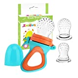 Zooawa Baby Food Feeder, Soft Silicone Mesh Fruit & Food Feeder Pacifier Teether Feeding Pacifier Teething Toy for Infants, BPA-free, 3 Different Sized, Blue + Orange