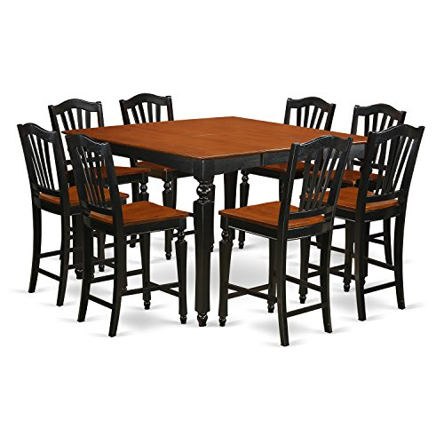 East West Furniture CHEL9-BLK-W 9 PC Counter Height Set- Square Pub Table and 8 Stools, Wood Seat, Black Finish ()