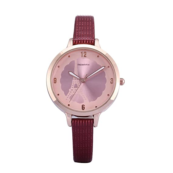 Amazon Com Simple Rose Gold Women S Watch With Red Leather