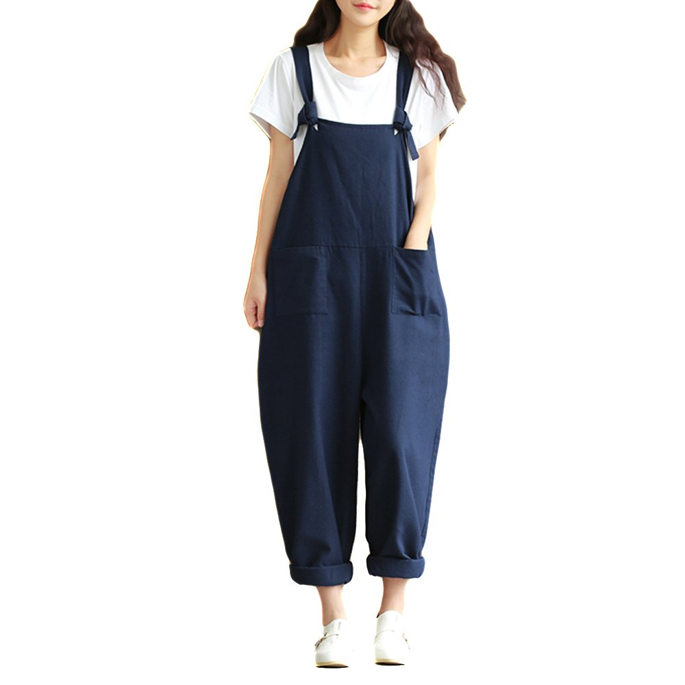 Helisopus Women's Plus Size Linen Overalls Baggy Adjustable Strap Sleeveless Jumpsuits Casual Loose Wide Leg Dungarees Rompers