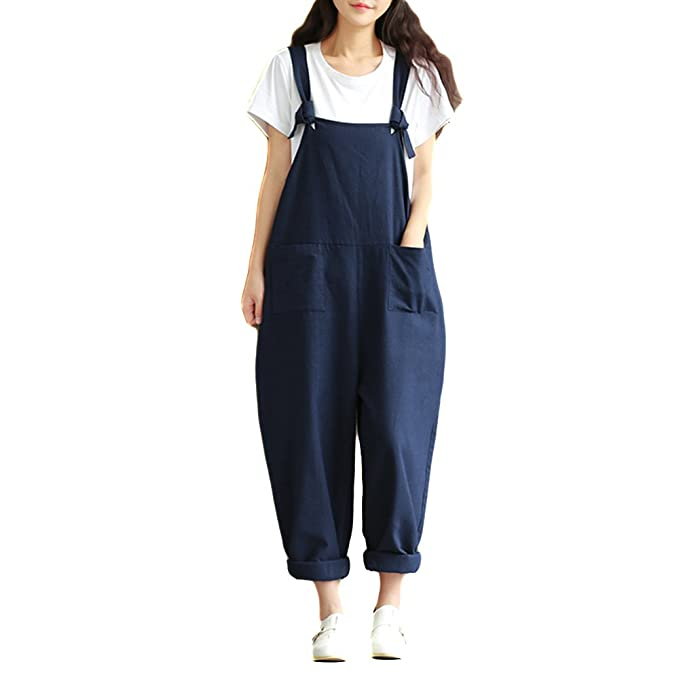 3d9f435164 Helisopus Women's Linen Overalls Baggy Adjustable Strap Jumpsuits Casual  Loose Wide Leg Rompers Blue