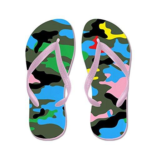 Cafepress Regenboog Camouflage - Flip Flops, Grappige String Sandalen, Strand Sandalen Roze