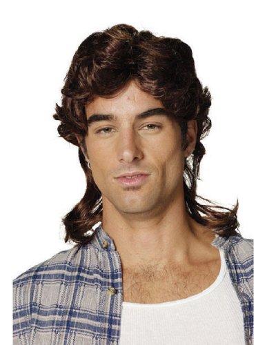 [Mullet Wig-Brown Adult Costume Accessory] (Halloween Costume Men Long Hair)