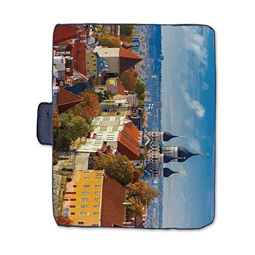 TecBillion Modern Stylish Picnic Blanket,Toompea Hill with Historical Tower Russian Cathedral Old City Culture Landmark Mat for Picnics Beaches Camping,58