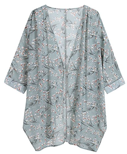 OLRAIN Women's Floral Print Sheer Chiffon Loose Kimono Cardigan Capes (Small, Bamboo Flower) by OLRAIN