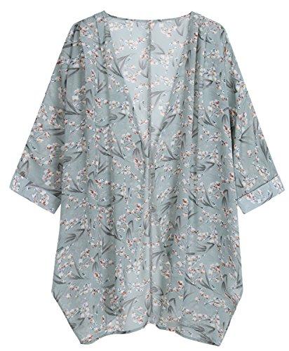 OLRAIN Women's Floral Print Sheer Chiffon Loose Kimono Cardigan Capes (Large, Bamboo Flower)