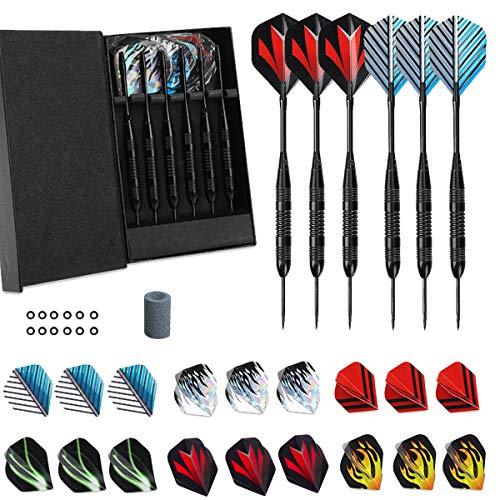 (LARRITS Professional 6 Pack 23 Grams Steel Tip Darts Set Black Aluminum Shafts 9pc Standard Flights 9pc Laser Flights 12pc Rubber O-Rings Dart Sharpener Storage Case)