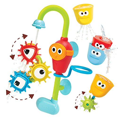 New Colony Bath (Baby Bath Toy- Spin N Sort Spout Pro- Three Stackable Cups, Automated Spout, and Spinning Suction Cup Gears)