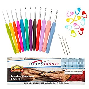 Assorted 12 Piece Crochet Hook Set Ergonomic Soft Comfort Handles for Arthritic Hands. Crochet Hooks Set with Improved Non-Slip Soft Comfort Handles, Great for Bulky Yarns. Makes a Perfect Gift!